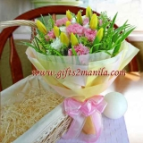 Yellow Tulip N Carnation Bouquet