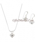 Sterling Heart Pendant and Earring Set