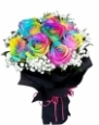 10 Rainbow Roses in a Bouquet