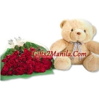 2 Dozen Rose with Bear