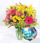 'Get Well Soon' Balloon and Flower Bouquet